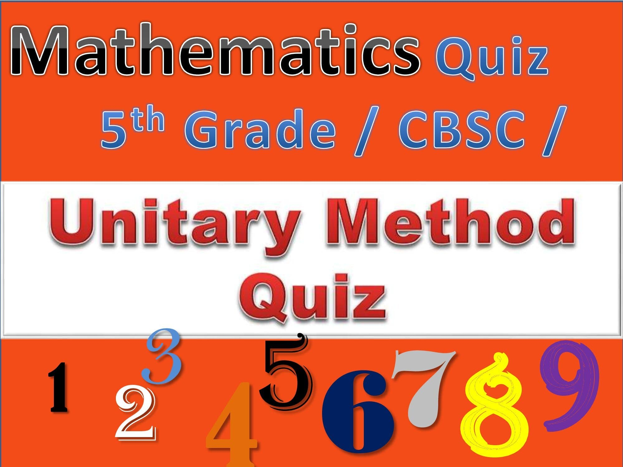 5th Grade Math Unitary Method Quiz for every Student